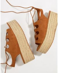 Bershka - Ghillie Flatform Espadrille Sandals In Tan - Lyst