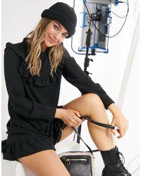 New Look - Черное Платье Мини С Присборенной Юбкой, Высоким Воротом И Оборками На Груди -черный Цвет - Lyst