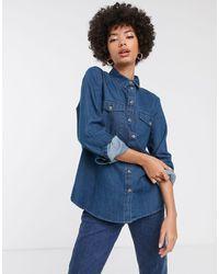 SELECTED Femme Denim Shirt-blue