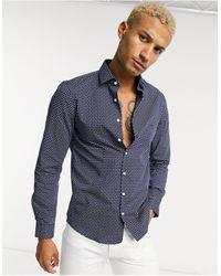 Calvin Klein Узкая Рубашка С Принтом Пейсли -темно-синий