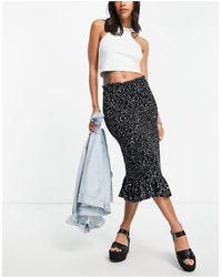 Object Jalke Printed Midi Skirt - Black