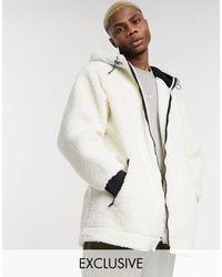Reclaimed (vintage) Куртка Из Искусственного Меха На Молнии С Капюшоном -белый