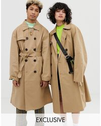Collusion Unisex Trench Coat - Natural