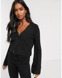 Micha Lounge Button Front Crop Cardigan - Black