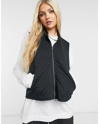Noisy May Quilted Gilet - Black