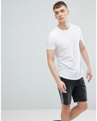 Esprit - Longline Muscle Fit T-shirt In White With Curved Hem - Lyst