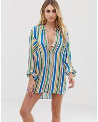 ebfa49c01a Akasa - Camisa de playa a rayas multicolor exclusiva de - Lyst