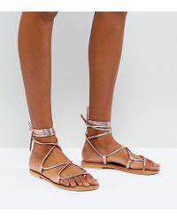 ASOS - Flow Leather Tie Leg Flat Sandals - Lyst