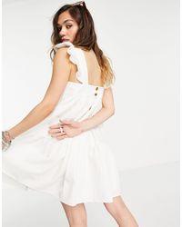 TOPSHOP Vestito grembiule corto color avorio testurizzato - Bianco