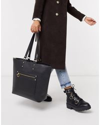 Truffle Collection Faux Leather Zip Front Tote Bag-black