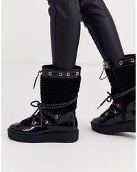 ASOS Черные Зимние Ботинки Из Искусственного Меха - Черный