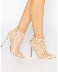 Little Mistress - Hepburn Lace Heeled Ankle Boots - Lyst