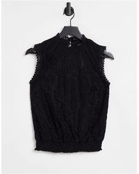 Oasis Lace Shirred Top - Black