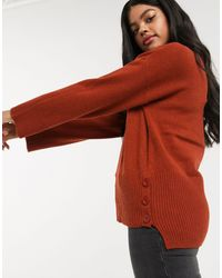 Oasis Button Hem Sweater - Red