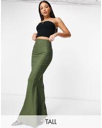 Vesper Fishtail Maxi Skirt - Green