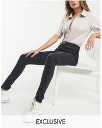 Weekday Thursday Organic Cotton Blend High Waist Skinny Jeans - Black
