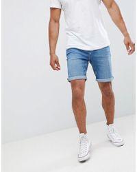 Mango - Man Denim Shorts In Mid Blue - Lyst