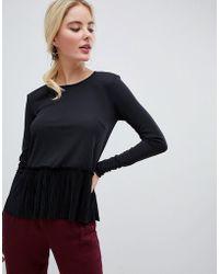 Y.A.S Muta Peplum Long Sleeved Top - Black