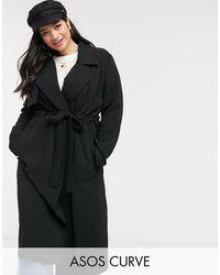 ASOS Asos Design Curve Soft Waterfall Duster Coat - Black