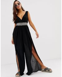 River Island Embellished Waist Beach Jumpsuit - Black
