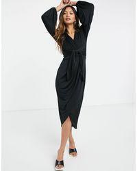 Closet Vestito a portafoglio con incrocio sul davanti nero