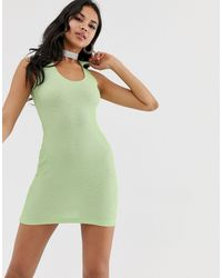 Motel Ribbed Mini Dress With V Neck Collar-green
