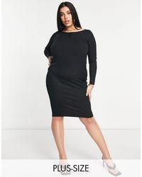 Flounce London Черное Платье Миди В Рубчик С Декоративными Пуговицами Flounce Plus-черный Цвет