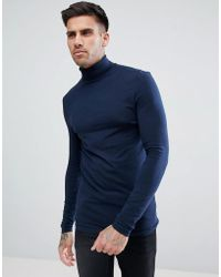 ASOS - Design Muscle Fit Long Sleeve T-shirt With Roll Neck - Lyst