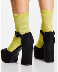 LAMODA Черные Туфли На Каблуке И Платформе С Ремешком На Щиколотке -черный Цвет