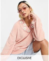 Native Youth Super Cute Oversized Jumper With Daisy Trim - Pink