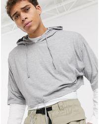 ASOS Hoodie en jersey léger coupe carrée - chiné - Gris