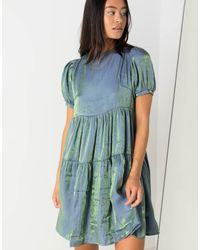 Daisy Street Relaxed Mini Smock Dress With Puff Sleeves - Blue
