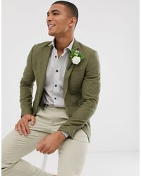 ASOS Wedding Super Skinny Blazer With Wool Mix Micro Check - Green