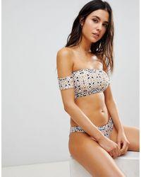 Beach Riot Top bikini con spalle scoperte e stampa laminata metallizzata - Metallizzato