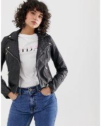 River Island Faux Leather Biker Jacket - Black