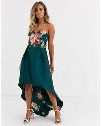 Chi Chi London Bandeau Prom Dress With High Low Hem - Green