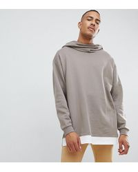 ASOS DESIGN - Tall Oversized Hoodie In Beige With Slouch Neck And Hem Extender - Lyst