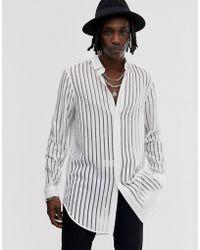 ASOS Regular Lang Burn-out Gestreept Overhemd In Wit