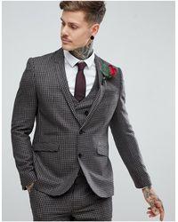 ASOS Asos Wedding - Smal Kostuum Van 100% Wol Met Pied-de-poule - Naturel