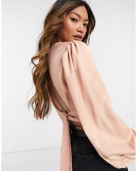 River Island High Neck Tie Back Silky Top - Pink