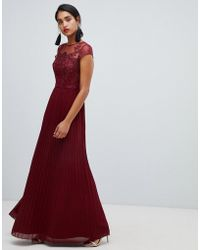 Chi Chi London - Lace Embroidered Top Maxi Dress With Pleated Skirt In Wine - Lyst