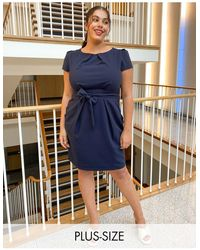 Closet London Plus Cap Sleeve wiggle Dress - Blue