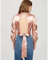 Miss Selfridge Satin Cropped Open Back Blouse - Natural
