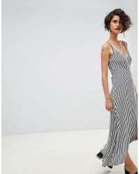 Warehouse - Stripe Wrap Front Midi Dress - Lyst