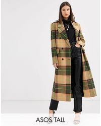 ASOS ASOS DESIGN Tall - Manteau long à carreaux fluo - Multicolore
