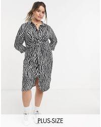 Simply Be Платье-рубашка С Перекрученным Передом И Зебровым Принтом -черный