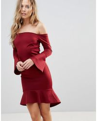 Oh My Love Off Shoulder Flute Sleeve Mini Dress - Red
