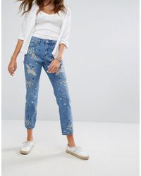Pimkie Embroidered Distressed Straight Leg Jeans - Blue