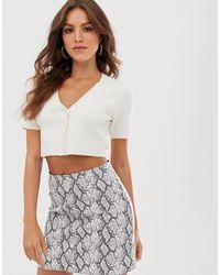 Fashion Union Cropped Short Sleeved Cardigan Co-ord - White