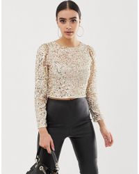 ASOS Long Sleeve Top With Sequin Embellishment - Metallic